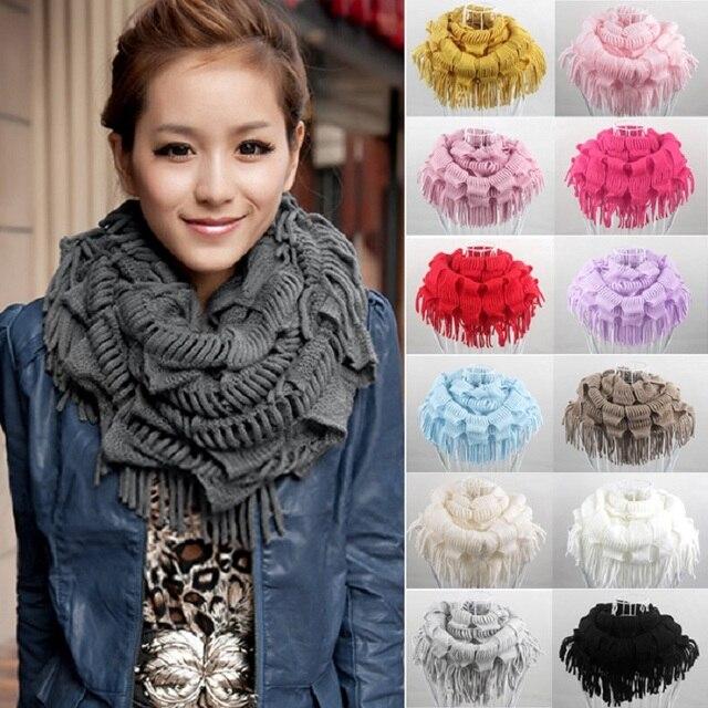 Зимний шарф Лидер продаж 2016 года новые модные Для женщин однотонные теплые вязать с бахромой шеи Обёрточная бумага Круг Снуд шарф шаль Осень Элитный бренд