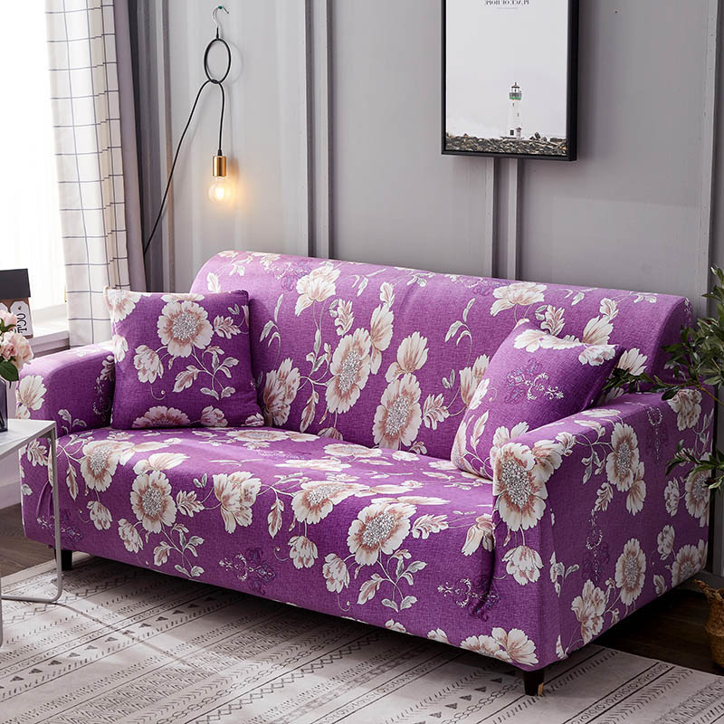 1pc Leaf and Flower Printed Sofa Cover Made of Polyester and Spandex Fabric for L Shaped and Corner Sofa 18