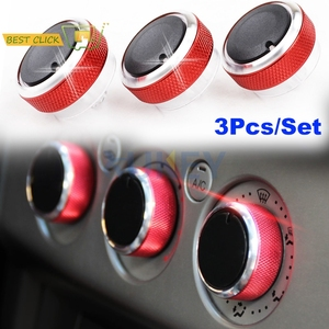 3Pcs Red Air Conditioning A/C Heater Climate Control Switch Knobs Buttons For Ford Focus MK2 MK3 Mondeo C-Max S-Max Car Styling