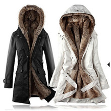 Faux fur lining women's fur Hoodies Ladies coats winter warm long coat jacket cotton clothes parkas Winter Jacket Women J168
