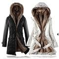 Faux fur mujer forro de piel Sudaderas Con Capucha de Las Señoras abrigos de invierno caliente larga ropa de abrigo chaqueta de algodón parkas Chaqueta de Invierno de Las Mujeres J168