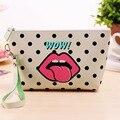 New Modern Grils Cosmetic Bag Lips  Waterproof Storage Travel Organizer Bag Women PU Leather MakeUp Bag Handbags Case
