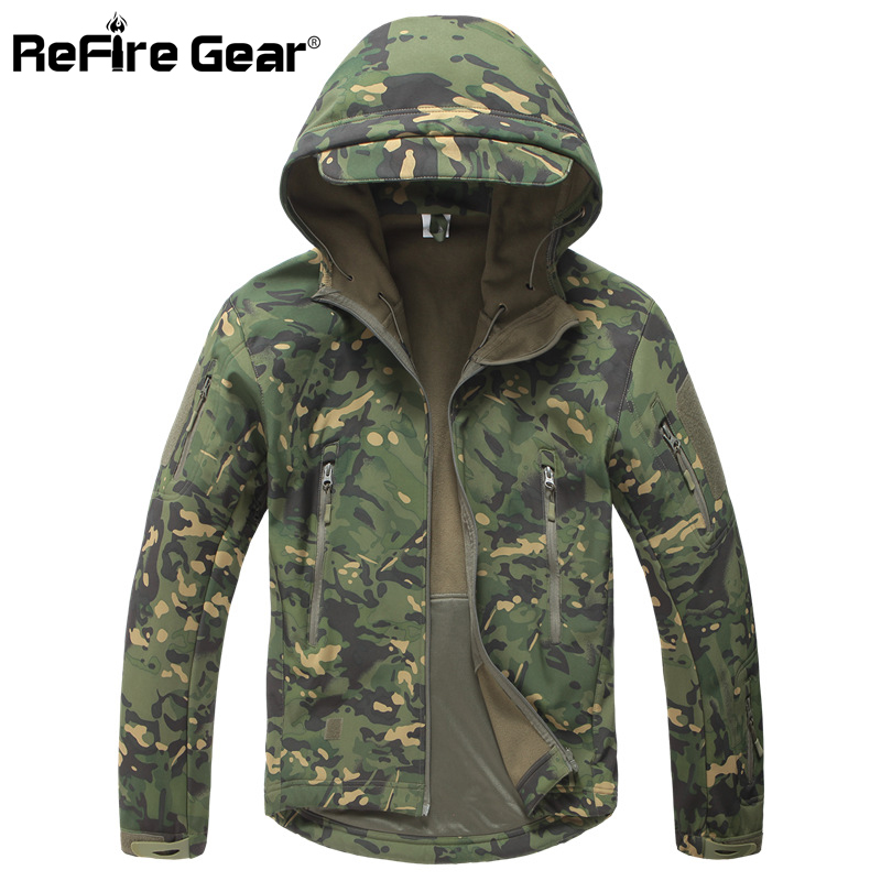 Lurker Shark Soft Shell Military Tactical Jacket Men Waterproof Warm Windbreaker Coat Camouflage Hooded Jacket US Army Clothing(China)