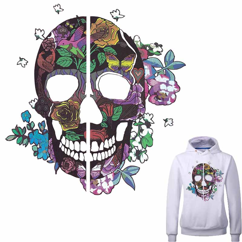 Flower Skull Patches For Clothes A-level Washable DIY Accessory Decoration Iron On Transfer Parches Para La Ropa
