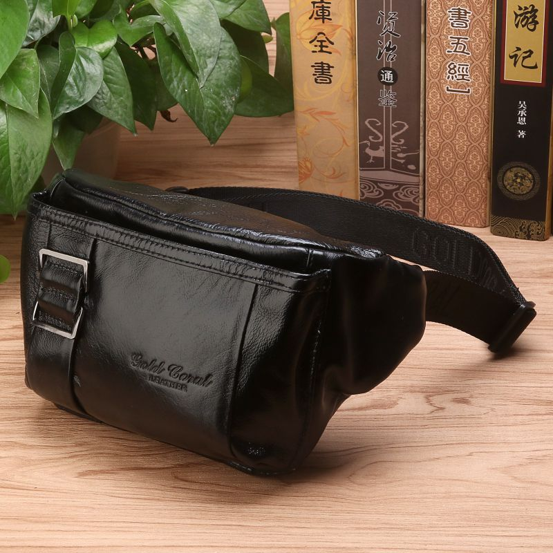 5edd2a6d4da4 US $23.03 28% OFF Men Genuine Leather Waist Chest Bag Multi Pocket Shoulder  Bag Real Cowhide Purse Pouch Male Fashion Hip Bum Belt Fanny Pack-in Waist  ...