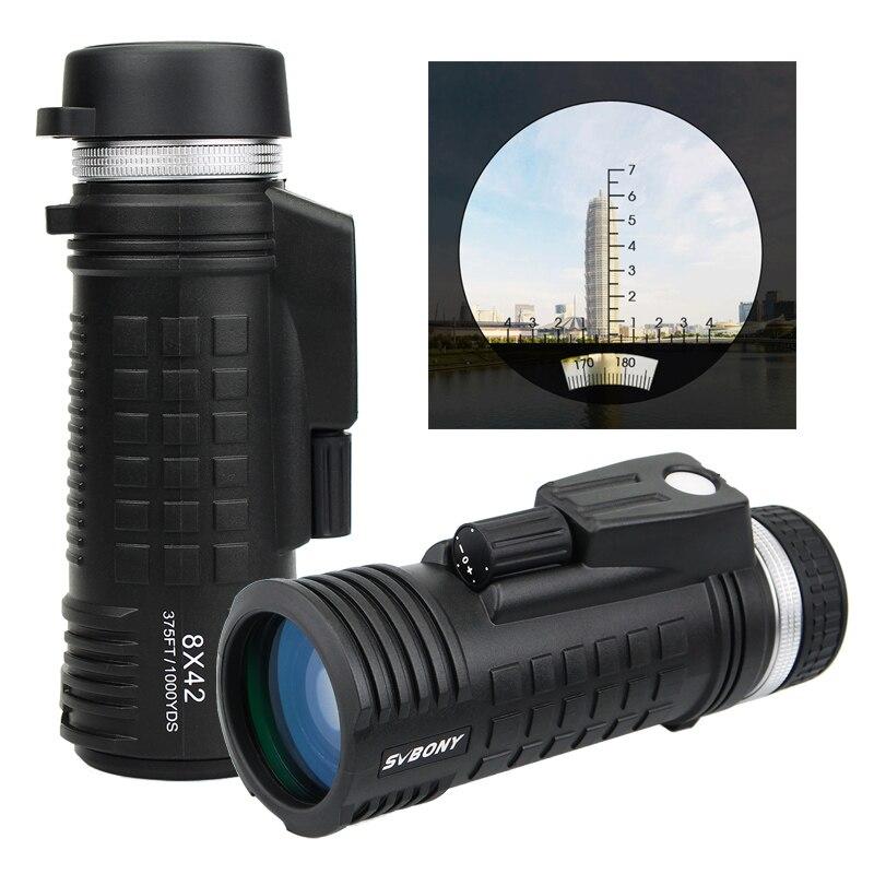 SVBONY 8x42 Monoculaire Télescope Boussole Intégrée Télémètre D'azote Entièrement Multi-revêtement BAK4 Tactique Monoculaire Chasse F9335