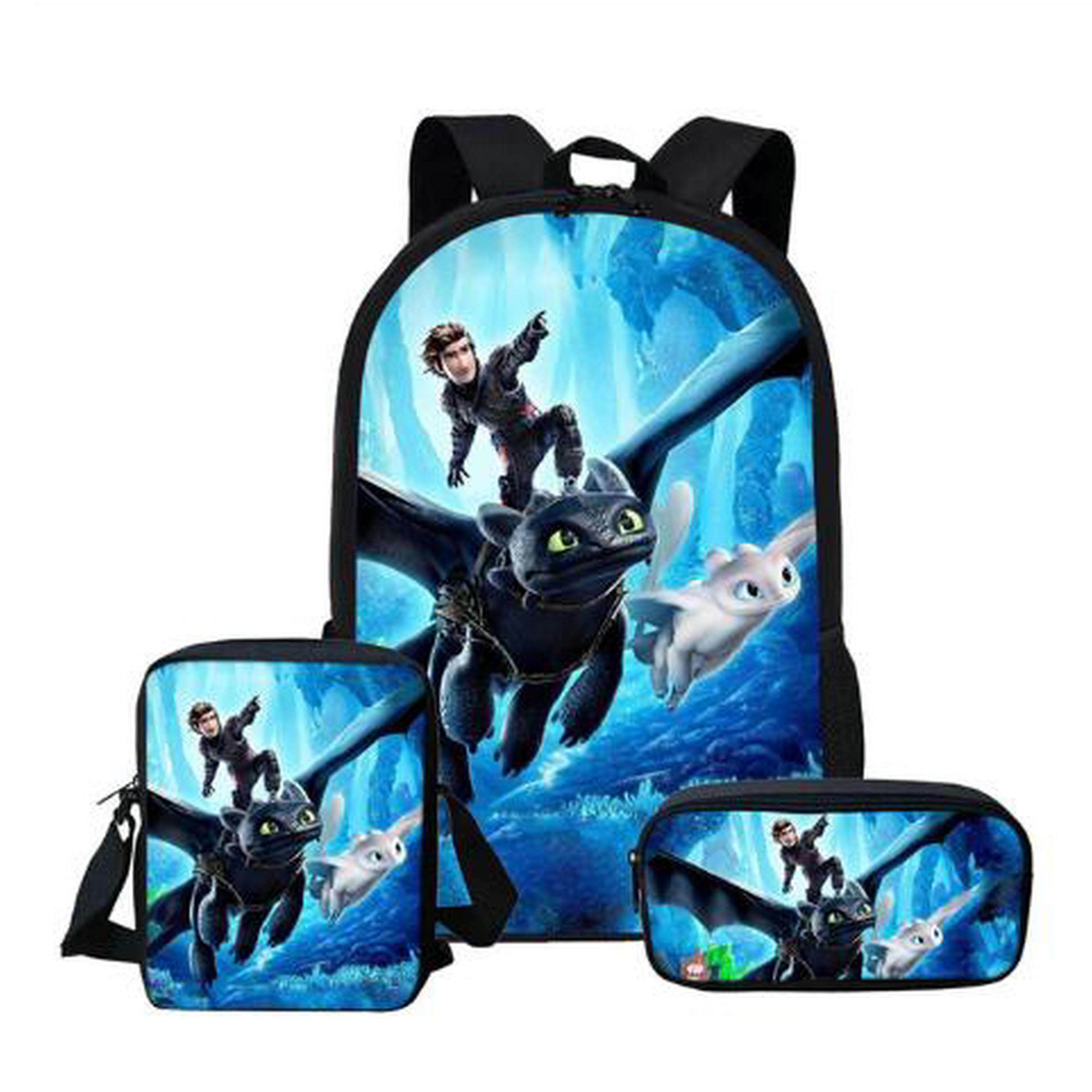 Cartoon Dragon 3D Printing Backpacks Pencil Bag 3Pcs Portfolio School Bags For Boys Girls Bookbag Satchel