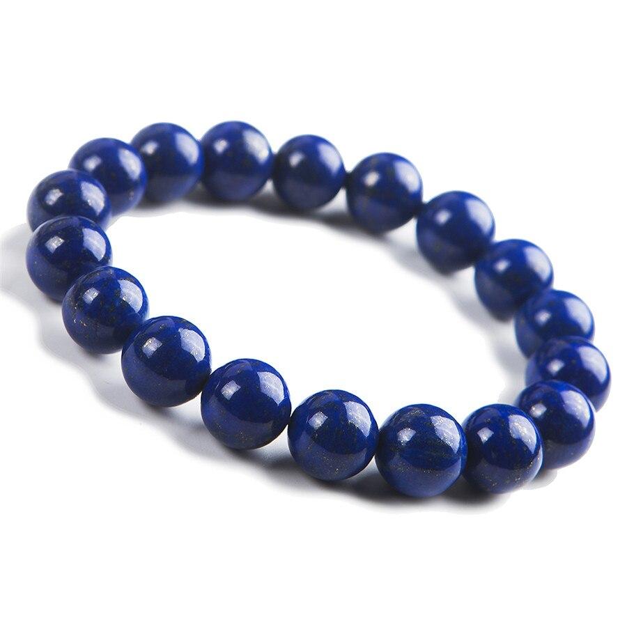 12 мм из натуральной лазурит браслет Для женщин Для мужчин мощный стрейч Шарм круглый кристалл браслет из бисера только один