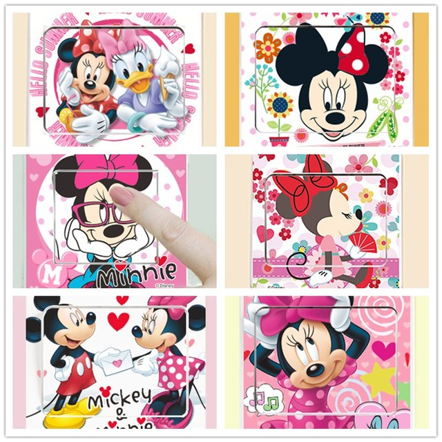 Removable 6 STYLE Mickey Mouse Minnie Wall Switch Sticker Decoration Home  Stickers DIY Kids Bedroom Art