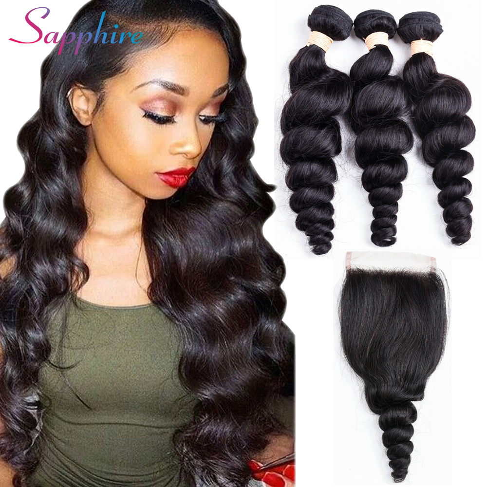 Sapphire Loose Wave Bundles With Closure 3 Bundles Brazilian Hair Weave Human Hair with 4*4 Free Part Lace Closure