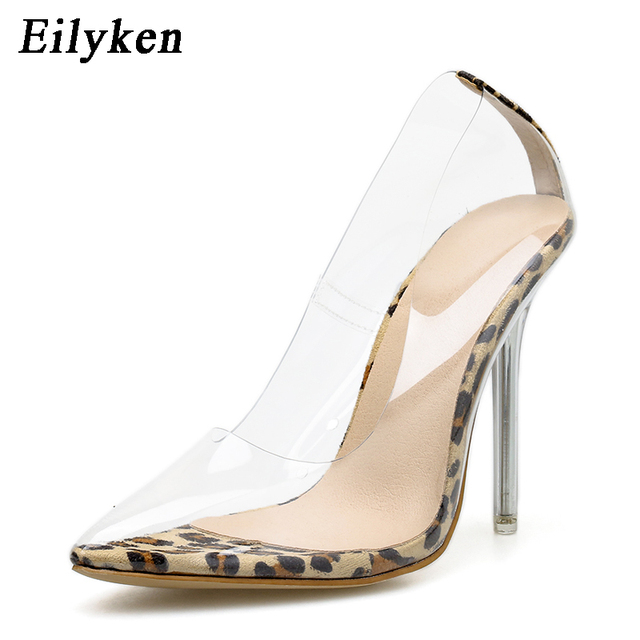 Eilyken PVC Transparent Leopard grain Pumps Heel Stilettos High Heels Womens Party Shoes Nightclub Pump Sandals 35-42