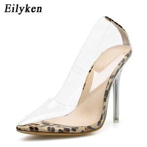 Image 3 - Eilyken/прозрачные туфли лодочки из ПВХ с леопардовым принтом женские Вечерние туфли на высоком каблуке шпильке босоножки лодочки для ночного клуба; Размеры 35 42