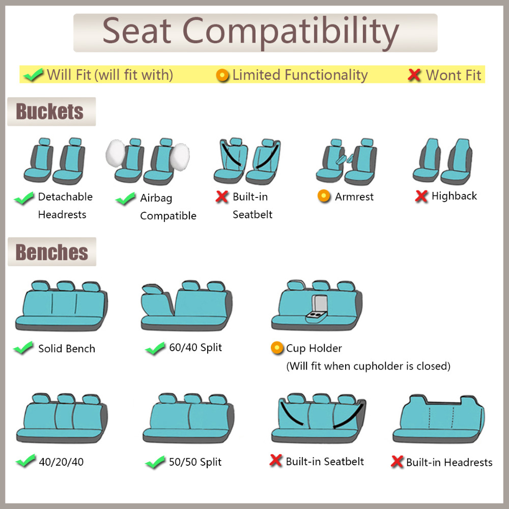 FlyingBnanner housses de siège de voiture en tissu maille universel pour la plupart des véhicules sièges accessoires intérieurs housse de siège de voiture protecteur 4 couleurs - 5