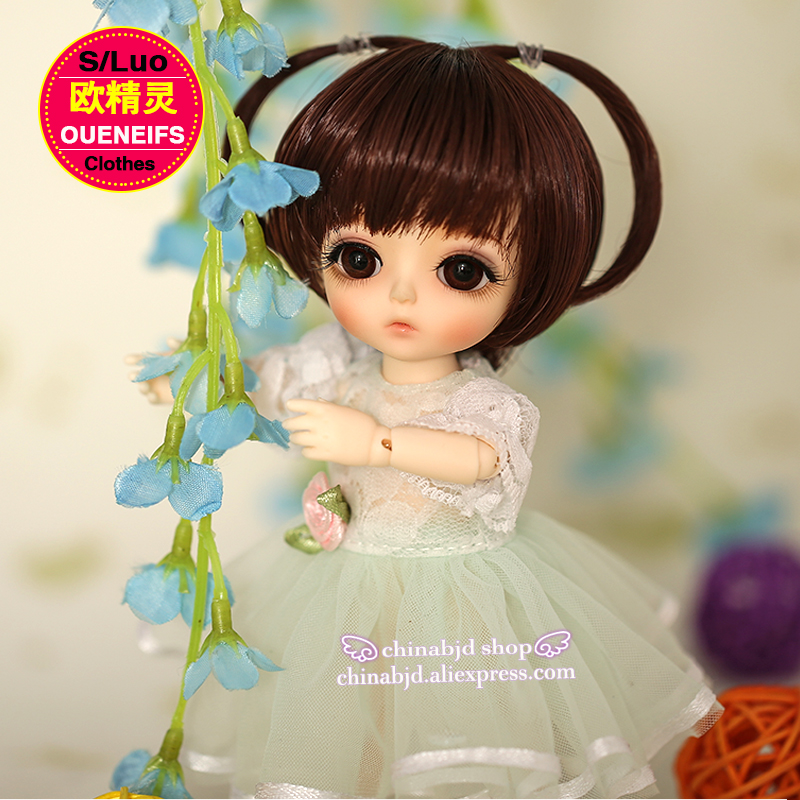OUENEIFS free shipping, chiffon dress,round neck Lace sleeve, in summer, 1/8 bjd sd doll clothes,no dolls and wigs YF8-101 oueneifs free shipping lace yarn dress and pink girl doll dress 1 6 bjd sd dolls no dolls or wigs yf6 148