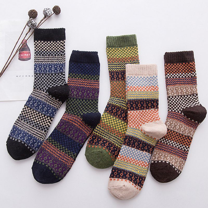 KLV New Fashion Mens Vintage Ethnic Woolen Warm Long   Socks   Checked Striped Geometric Ribbed Knit High Quality