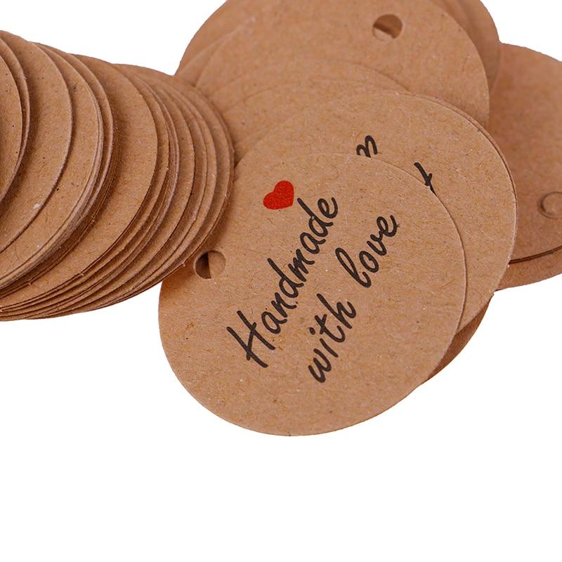 100 шт, ручная работа, этикетки с любовью, бирки, чистая крафт-бумага, 20 м, бирки, этикетки, вечерние, сувениры, подарок
