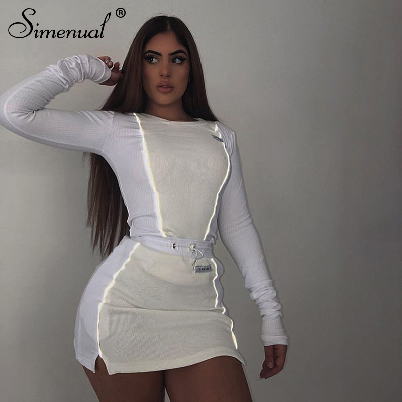 Simenual Casual Fashion Reflective Striped Two Piece Outfits Women Long Sleeve Top And Mini Skirt Sets 19 Autumn White Set New 13