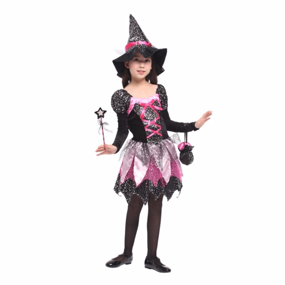 Shanghai Story Flashes Witch Costume Fancy Children Halloween Purple Witch Costume Girls Cosplay Christmas Halloween Fancy Dress