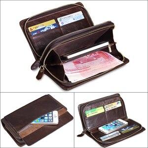 Image 5 - MISFITS erkek debriyaj cüzdan hakiki deri marka tasarımcısı vintage uzun cüzdan kart tutucu erkek büyük çanta cep telefonu el çantası
