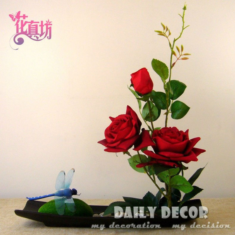 New ! handmade red rose bonsai artificial rose flower arrangements set flores artificiais arranjos ikebana in ceramic pots suit