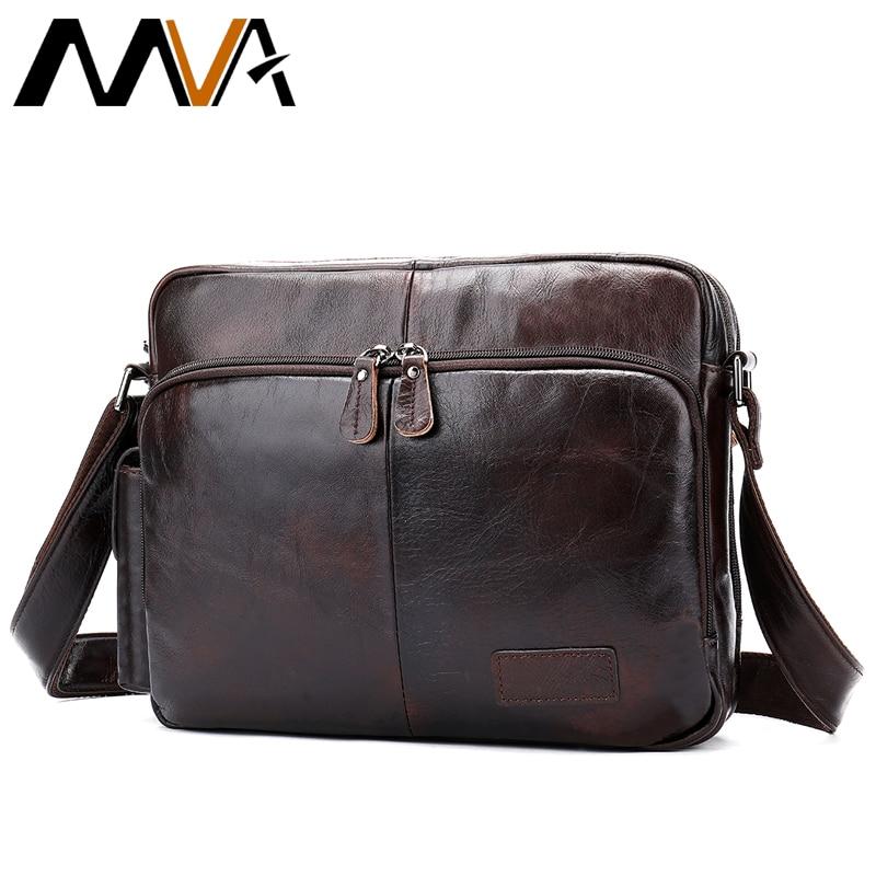 MVA Men Shoulder Bags Äkta Läder Crossbody Väskor till Man Multifunktion Ipad Holder Messenger Bag Herr Läder Väska Man 8876