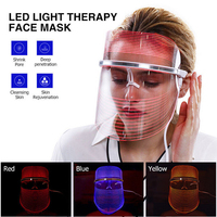 USB Phototherapy Skin Tightening Rejuvenate Shrink Pores Face lift Whitening Anti WrinkleRed Blue Yellow Light LED Facial Mask