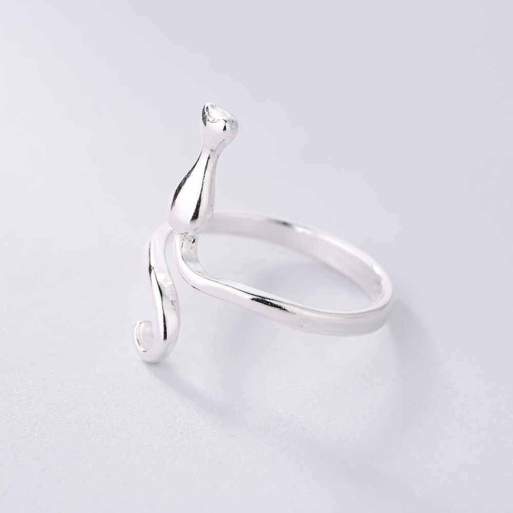 Cxwind ใหม่แมวเปิดสัตว์แหวนหางสำหรับหญิงสาวสวย Finger Wrap Kitty แหวนครบรอบเครื่องประดับของขวัญเครื่องประดับ