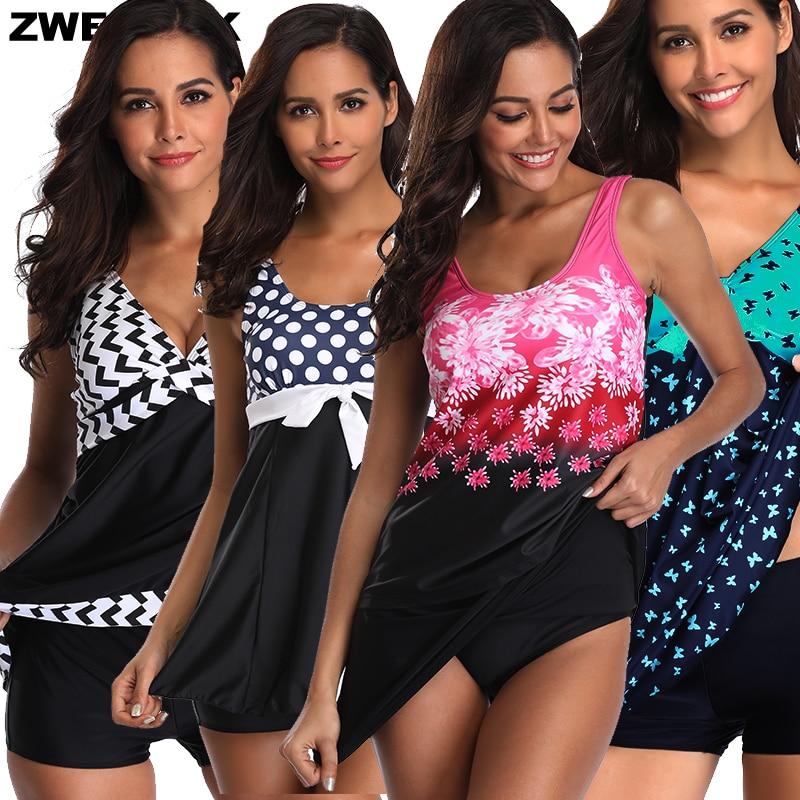 Women 2019 SwimDress Floral/Polka Dot/Flower Printed Female Bathing Suit Plus Size XL-5XL Beachwear Swimming Suit Large Swimwear
