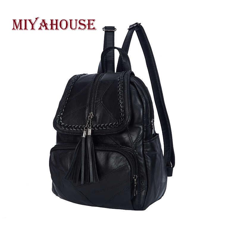 MIyahouse высокое качество из искусственной кожи женский рюкзак с кисточкой простые однотонные Цвет женский рюкзак Повседневное Стиль Женская дорожная сумка