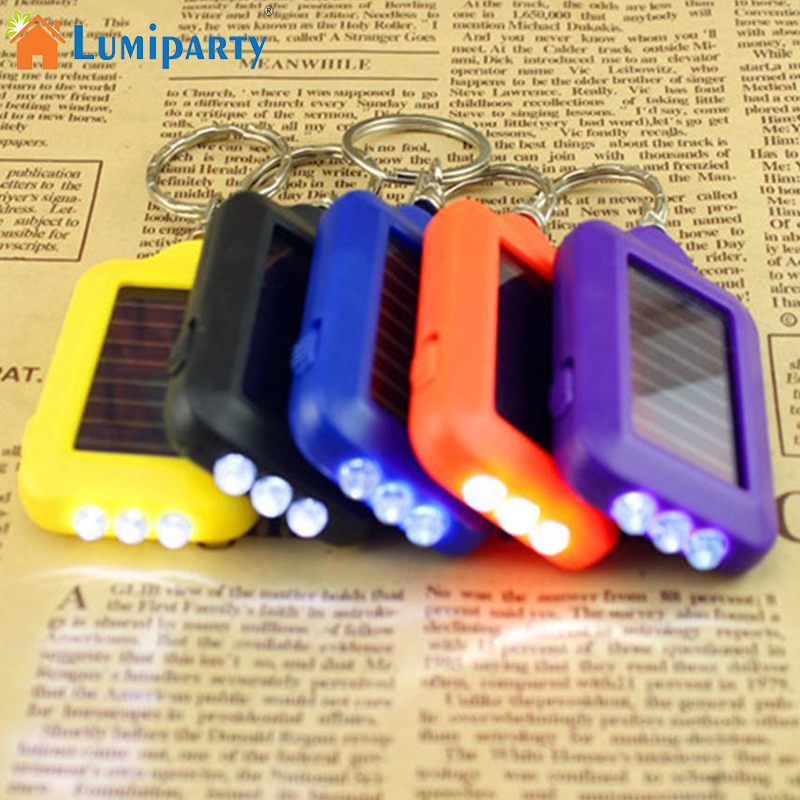 Portable Solar Power 3 LED Light Keychain Keyring Torch Flashlight with Re-chargeable Built-in Battery