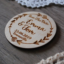 Wooden Wedding Party Favor Magnet Personalized Save the Date Magnet Wooden Wedding Gifts for Coming Guest