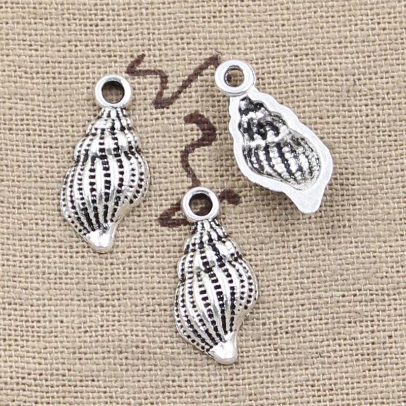 32pcs Tibetan silver shell//conch Charms Pendant Crafts 10*20mm