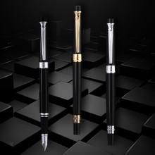 Pimio 917 school pen Luxury Black and Gold Clip 0.7mm Metal Iridium Nib Fountain Pen with Gift Box Inking Pens Free Shipping