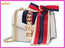 Ribbon luxury leather women's handbags chain lock Messenger bag shoulder strap bag envelope 45