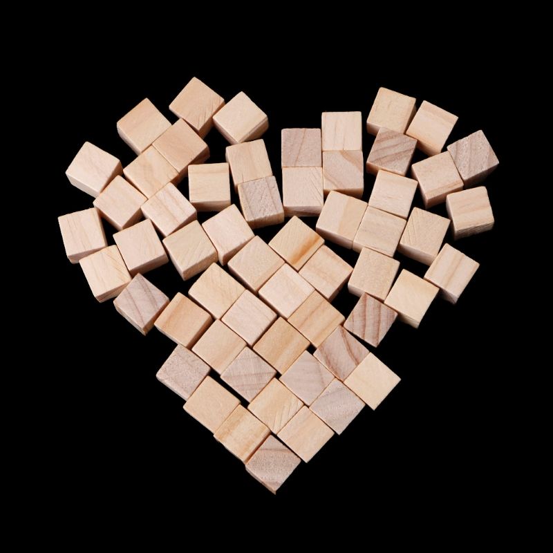 10//25//25mm Wooden Square Blocks Mini Cubes Embellishment for Woodwork Craft DIY