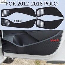 4 шт./лот, защита двери из углеродного волокна, защита от ударов, украшение для 2011- Volkswagen VW POLO