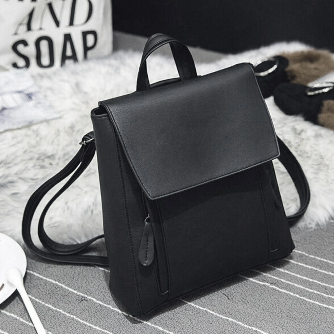 DCOS Women Girl Leather Shoulder Bookbags School Bag Satchel Travel Backpack (Black)
