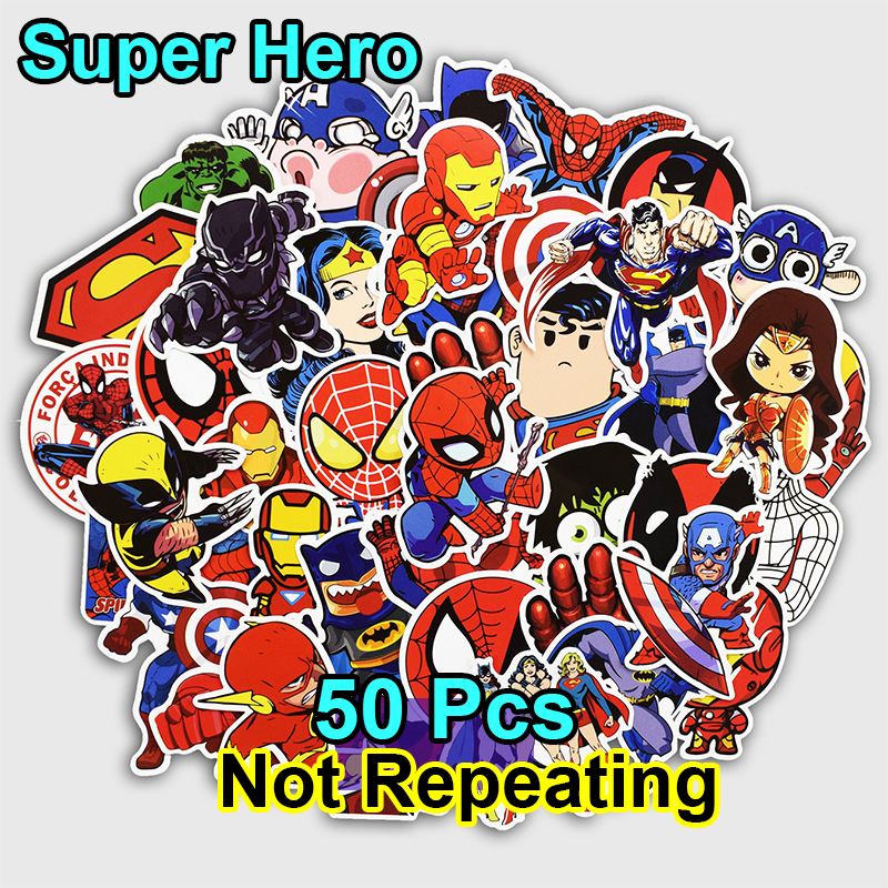 50 PCS Super Hero Cartoon Sticker for Laptop Luggage Bags Bike Phone Car Styling Cool Stickers Toys Doodle PVC Creative Decals bevle 50pcs tide brand stickers for laptop car styling phone luggage bike motorcycle mixed cartoon pvc waterproof sticker