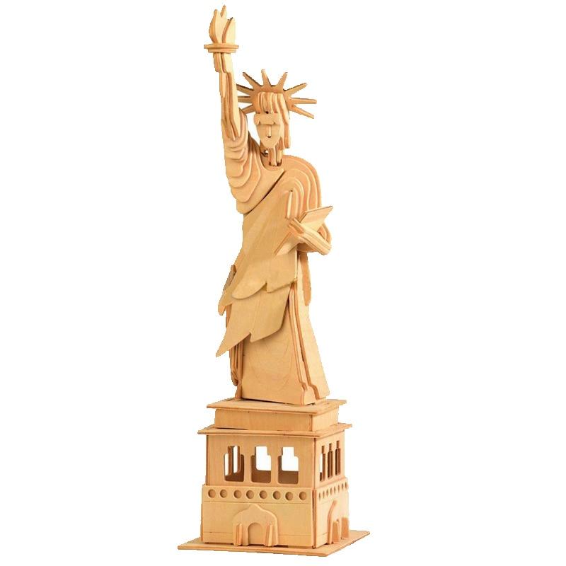 Freeshipping Educational toys Statue of liberty wooden model 3d assembling model of Miniature DIY