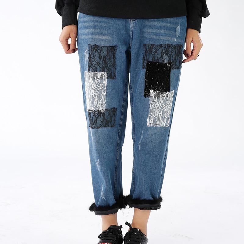 Décoré Dentelle Pantalon Mode Livraison Jeans Nouvelles Casual Gratuite Pacthwork Femmes Style De Fourrure 2017 Melinda nZH18Tx
