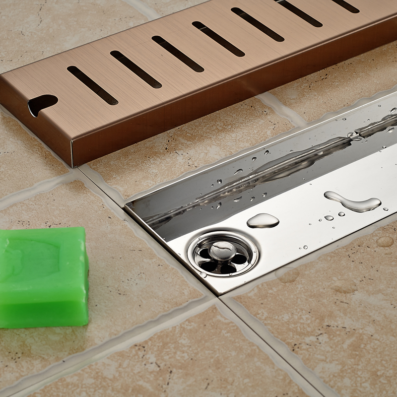 90CM Stainless Steel Rectangle Floor Shower Drain Large Water Flow Pane Shower Channel Drainer-in Drains from Home Improvement    3