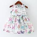 2016 New Arrive Girls Dress Free Shipment Cotton Print Sleeveless Dress For Cute Girls Casual Fashion Kids Clothing