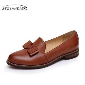 Image 3 - Yinzo kobiety mieszkania Oxford buty kobieta oryginalne skórzane buty sportowe Lady Brogues Vintage obuwie obuwie damskie 2020