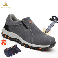 Plus Size 35 46 Men Safety Shoes Steel Toecap Steel Insole Cow Suede Safety Boots Men Lightweight Breathable Casual Work Shoes