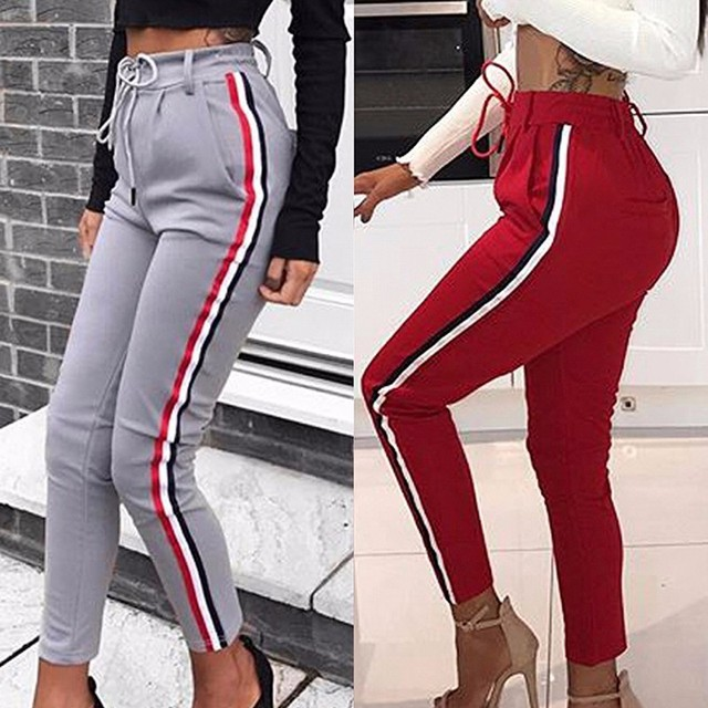 21eda35a09923 High Waist Women Fitness Sport Pants Drawstring Striped Yoga Tight Sports  Leggings Breathable Gym Running Workout