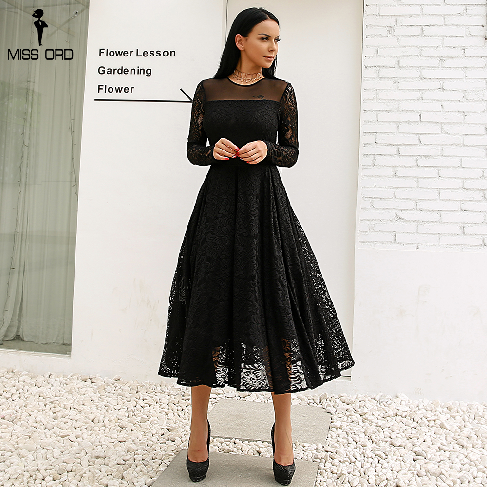 Missord High Split Lace Solid Color Elegant Dress FT18350