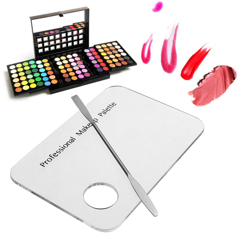 Akryl Kosmetisk Makeup Blandplatta Nail Art Polish Gel Foundation Eyeshadow Eyes Mixing Palette med Spatel Rod Tool Set
