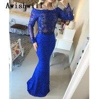 E Marry New Fashion Arabic Style Boat Neck Blue Lace Mermaid Evening Dress Sexy V Back