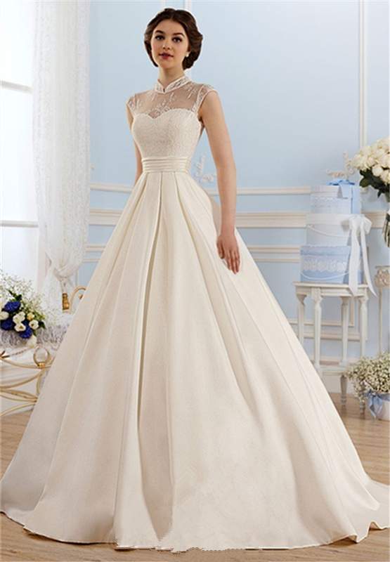 Custom Lace Draped Satin Wedding Dress 2015 Hot Vintage