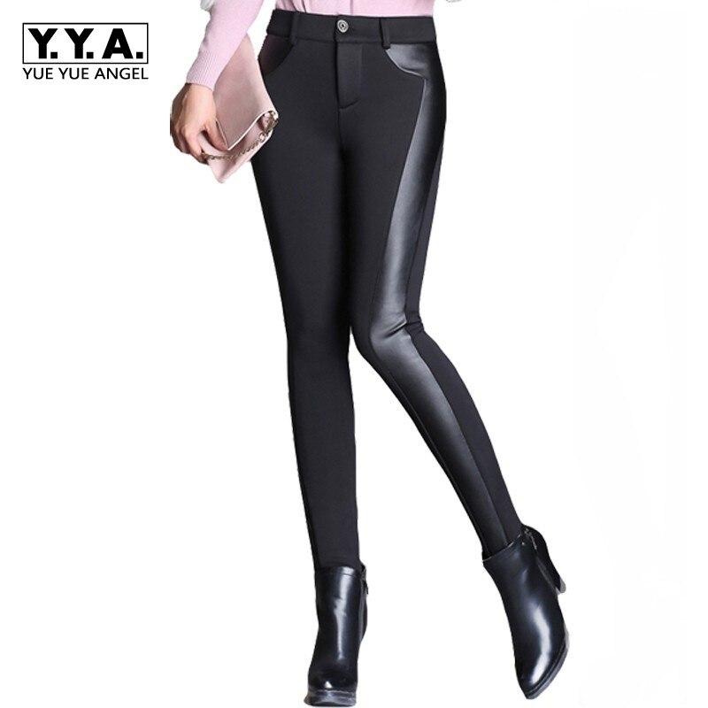 Velours Cuir 6xl Élastique Waist 100 Hiver Black black Zipper Elastic Mince Stretch En Grande Haute 45 Sexy Kg Femmes Leggings Taille Pantalon Moulant E0wqTPw